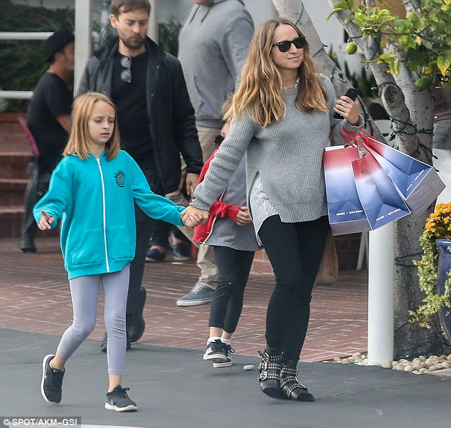 A little smile: Ex Jennifer Meyer, 39, looked to have a bit more energy, though she also kept things quite basic in the wardrobe department