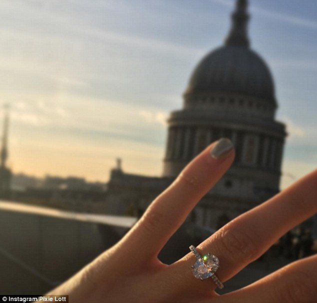 Careful: Pixie also admitted that the sparkling ring had to be resized three times - but that now she can wear it she is terrified of taking it off and losing it