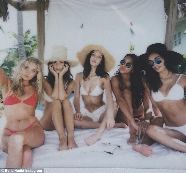Classic beauties: Elsa, Emily, Bella, Lais and Gizele enjoyed time in a cabana during the top secret shoot all wearing Solid and Striped