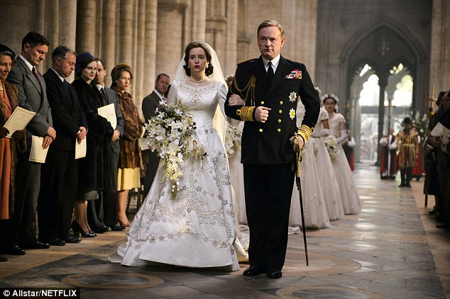 One feels honoured: Claire Foy, seen with her co-star Jared Harris, has been nominated for her portrayal of a young Queen Elizabeth II in acclaimed TV series The Crown