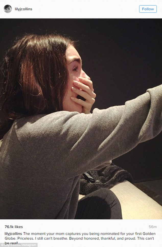 Emotional: She took to Instagram to share a shot of herself as she learned of her nomination