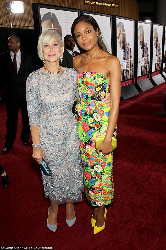 Not so mellow yellow: The former Bond girl boosted her height with a pair of fluorescent yellow heels and a matching clutch bag as she posed with co-star Helen Mirren, 71
