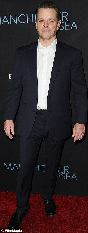 Money makers: Matt Damon is ranked nine is tied with Jennifer Lawrence for number nine with $17.70 for every $1; Matt seen at the November 14 Manchester By The Sea premiere and Jen (r) at the Passengers photo call in LA on Friday