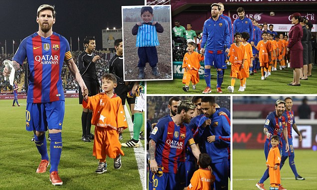 Lionel Messi joined by Afghan boy who replicated his shirt with a plastic bag before