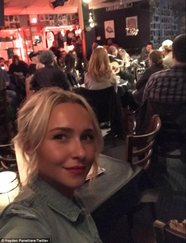 On the job: Hayden, who dished on Sunday that her toughest job is keeping two-year-old Kaya alive because she gets into 'just about everything,' posted this tweet showing her and the Nashville writers in the series's Bluebird Cafe