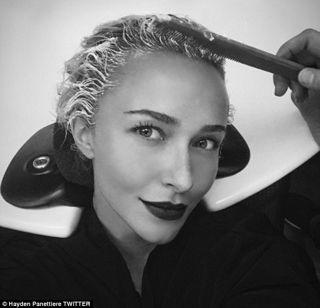 'Blonding my blonde!': The star gave a shoutout to celebrity stylist Anthony Leonard on Twitter when she went to his New York salon on Monday