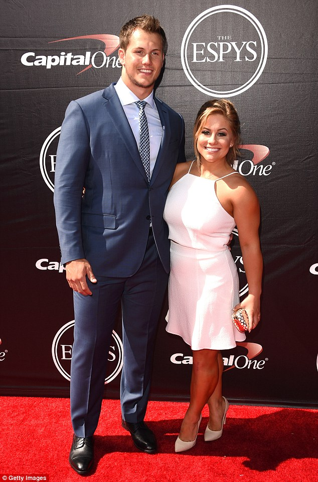 Set up: Underwood's former Raider's teammate Andrew East is married to Raisman's friend and fellow Olympic gymnast Shawn Johnson