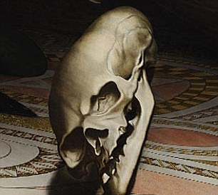 The anamorphic skull at the bottom of The Ambassadors, digitally adjusted to correct  its perspective