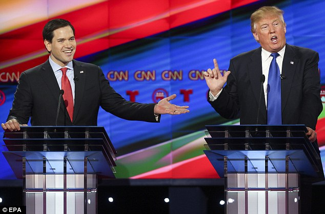 Senator Marco Rubio (pictured during the CNN Republican Presidential Primary Debate in February with Donald Trump) tweeted that 'being a friend of Vladimir is not an attribute I am hoping for from a #SecretaryOfState'