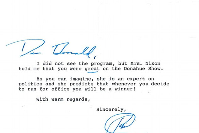 Nixon wrote that his wife, Pat, predicts that whenever Trump decides to run for office, 'You will be a winner!'