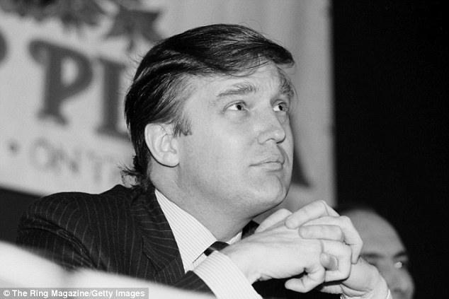 Donald Trump listens during the press conference promoting the upcoming fight between Mike Spinks and Gerry Cooney on June 15,1987 in in Atlantic City