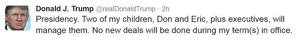 The president-elect made the announcement on Twitter, just hours after he delayed the much-awaited press conference where he would outline his 'total' withdrawal