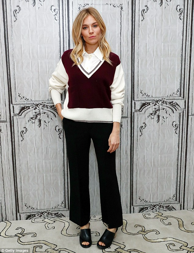 Chic: She's always favoured a preppy sense of style. And Sienna Miller looked effortlessly chic as she donned a chic yet quirky ensemble for a trip to AOL HQ in New York on Tuesday