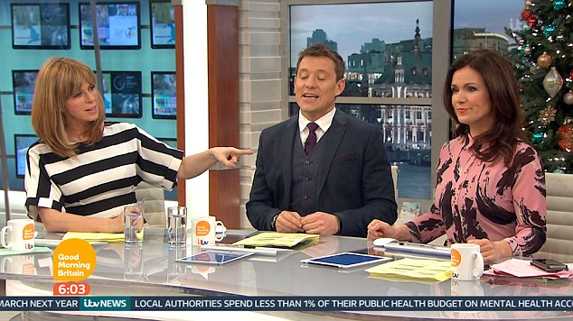 Oh dear: Yet Good Morning Britain presenter Susanna Reid apparently failed to impress on Thursday morning, as her co-host Kate Garraway made an acerbic remark about her choice of dress on the show