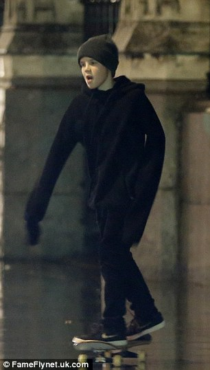 Black to basics: The rising pop star looked casually cool, stepping out in a warm black outfit