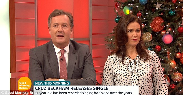 Unimpressed:The news will no doubt be frowned upon by television personality Piers Morgan, after he called Cruz's early pop breakthrough 'sickening'