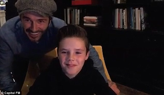 That's my boy! Dad David (left) appeared prouder than ever as he helped his boy promote the song on social media and on Capital Radio earlier this week