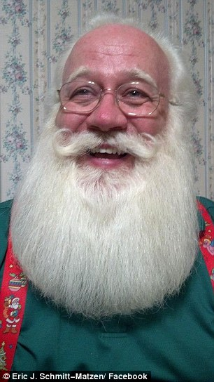 Schmitt-Matzen said he decided to become a professional Santa six years ago, after agreeing to play him for his local church. He even studied at 'Santa School' before he was allowed to become a fully fledged Santa Claus