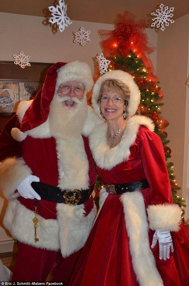 He and his wife Sharon Byrne Schmitt-Matzen, pose together as Mr and Mrs Claus