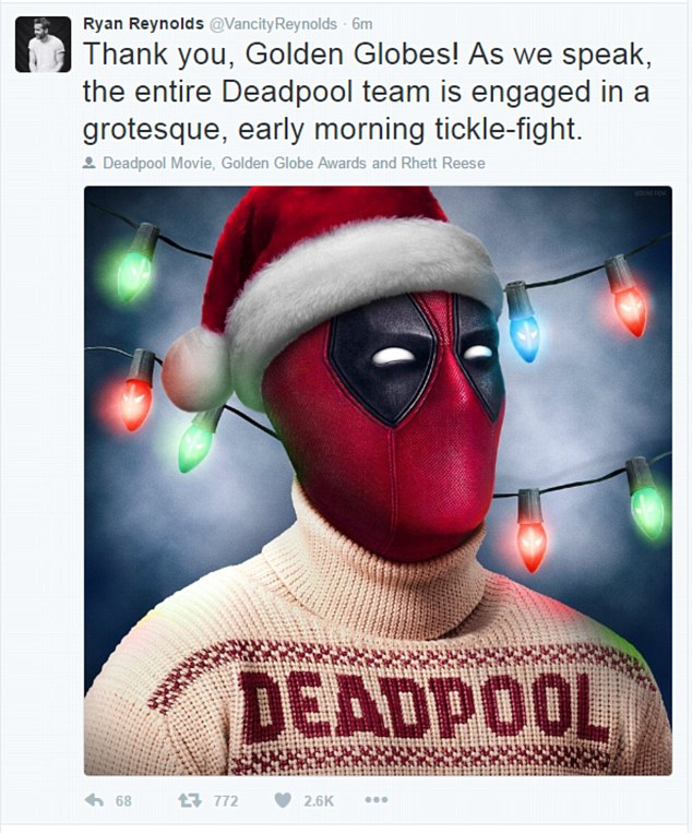 Clever:Ryan was one of the first stars to react to his nom; the actor shared a funny tweet with Deadpool wearing a Santa hat