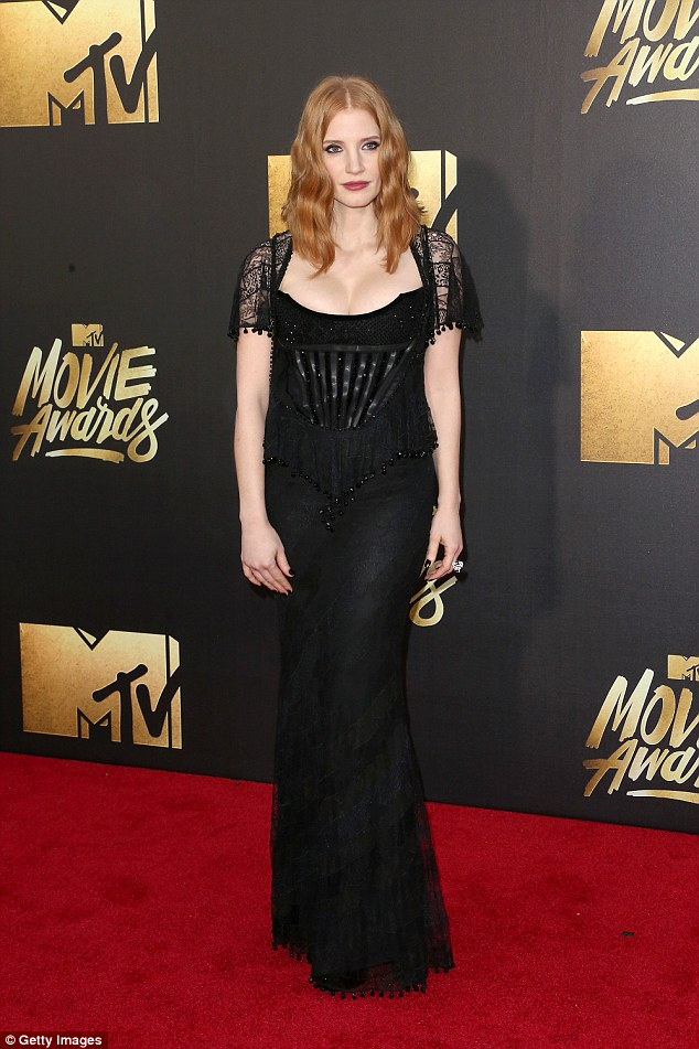Class act:Miss Sloane star Jessica Chastain said: 'I'm thrilled to be acknowledged in this talented peer group with such amazing actresses. I would not be here without the brilliant direction of John Madden'; here she is seen in April