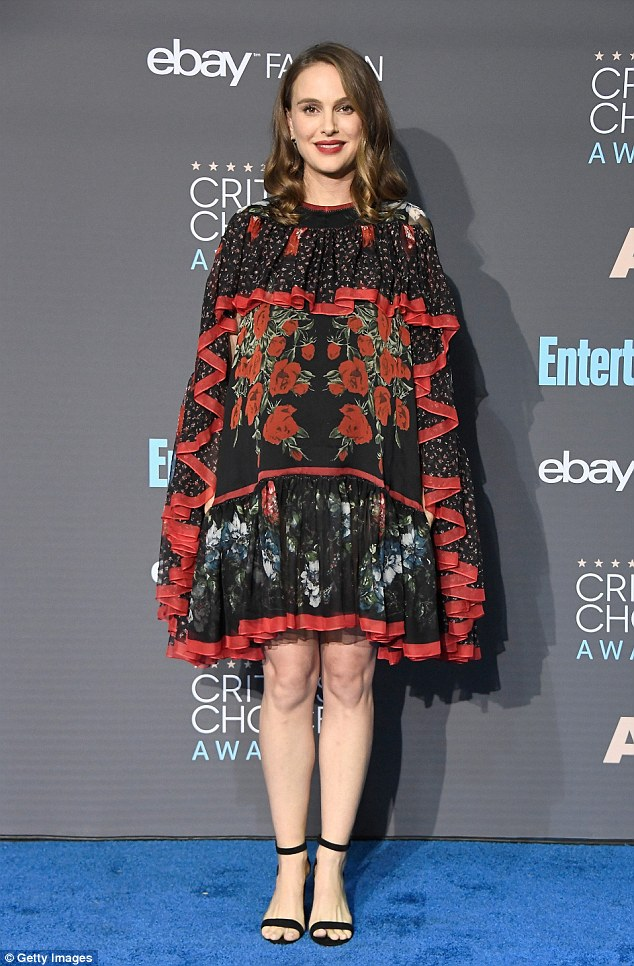 Regal: Pregnant Natalie Portman, seen here on Sunday, was nominated for her film Jackie