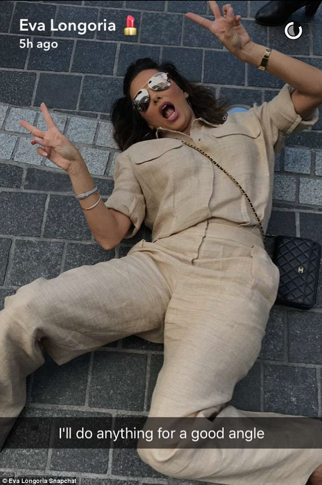 'I'll do anything for a good angle,' the 41-year-old Telenovela star was clearly not shy as she posted a snapshot of herself sprawled on the ground