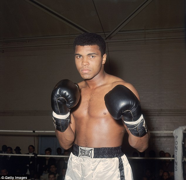 Lastly, King James ended his speech with a heartfelt tribute to several legends, including the late Muhammad Ali (pictured duringtraining at the Royal Artillery Gymnasium in London)