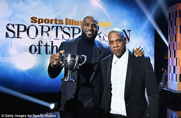 James was introduced by Jay-Z (right) as he walked to the stage to make his speech and accept his award. He later said that he has also looked up to Jay-Z since the pair met when he was younger
