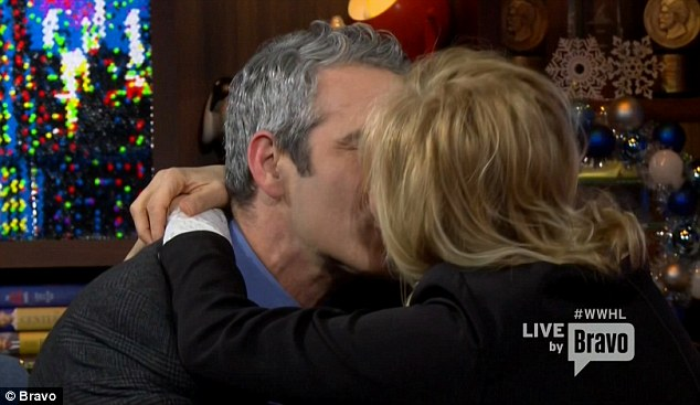 Spin the bottle: Andy Cohen kissed Trudie Styler on Monday during a game of Spin The Bottle on Watch What Happens Live