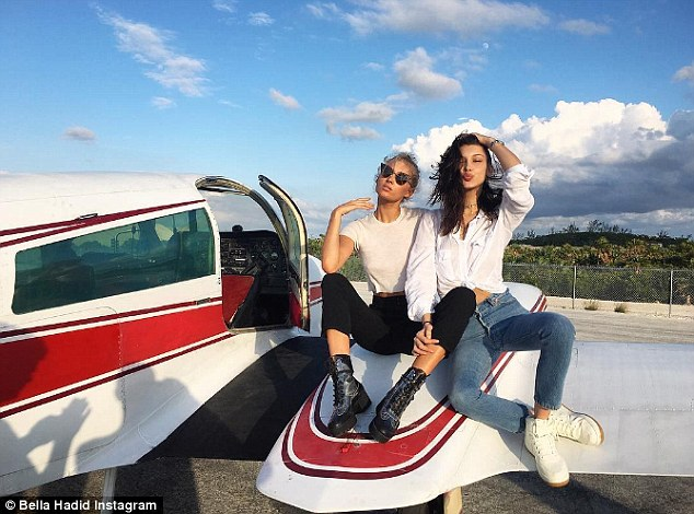 Flying high: The previous day Bella posed with Elsa Hosk on the wing of a plane as they arrived in their holiday spot