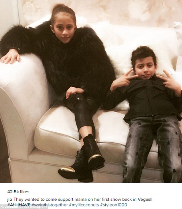 'They wanted to come support mama': Lopez shared a cute Instagram photo on Friday of her eight-year-old twins Max and Emme backstage as she resumed her Las Vegas residency