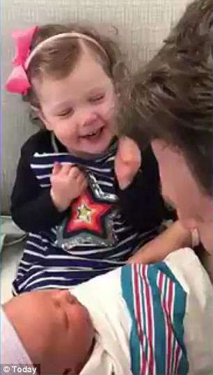 Big sister: Savannah Guthrie shared a video of the two-year-old daughter Vale meeting her new baby brother when she called into the Today show on Monday morning