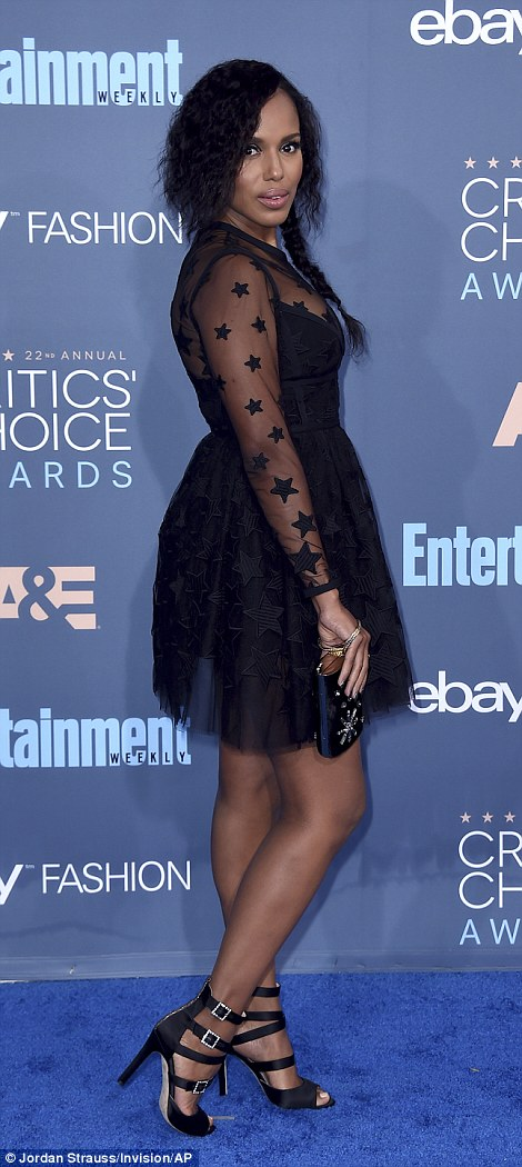 Star-spangled: Kerry Washington opted for a playful Elie Saab number which flashed her legs