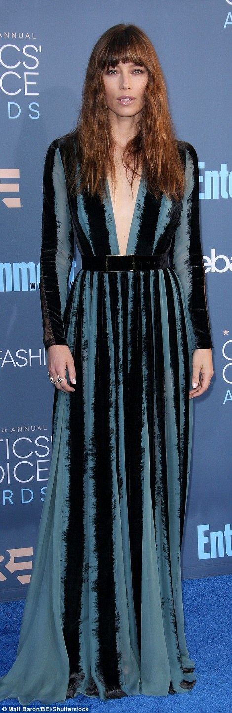 Simply stunning: Jessica Biel and Mandy Moore looked gorgeous in plunging frocks