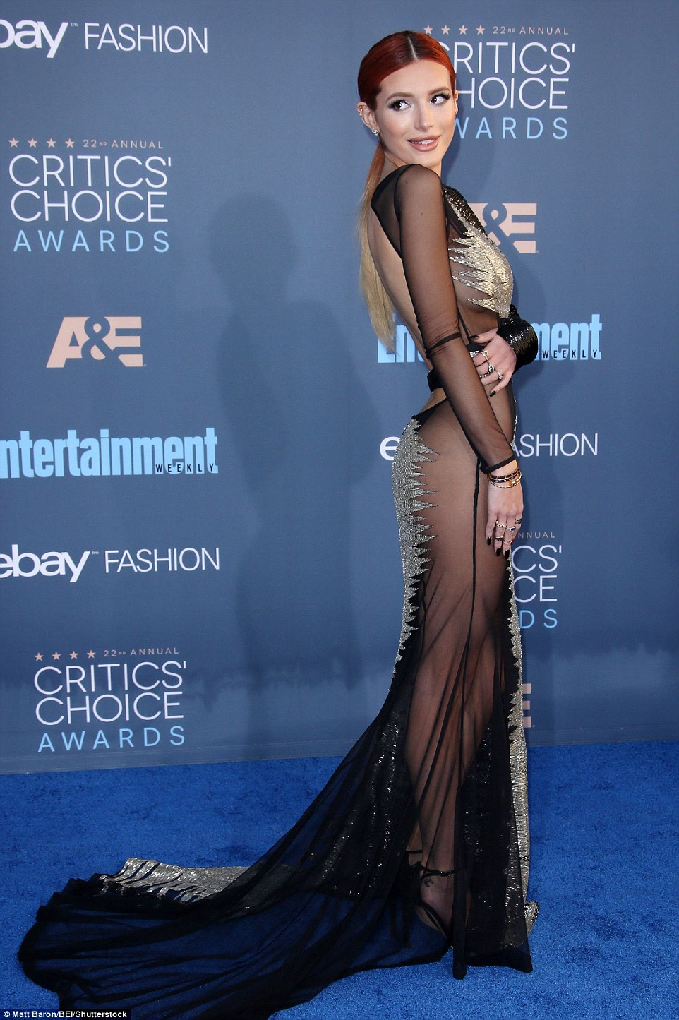 Sheer daring: Bella Thorne opted for a flimsy gown with glittery embellishments