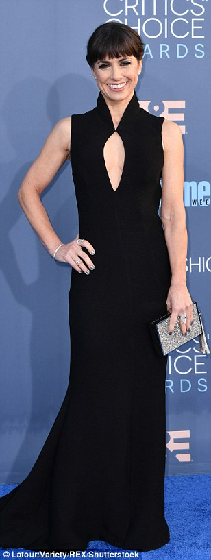 Evening chic: Constance Zimmer wore a dramatic look by designer John Paul Ataker whileKate Micucci went for a playful LBD and Michelle Monaghan  opted for sexy lace blazer and sheer trousers