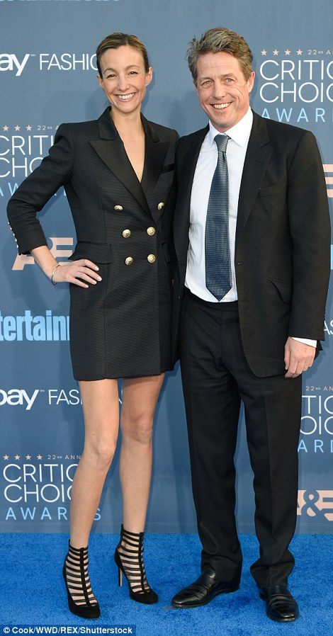 Hollywood couples: Hugh Grant made an appearance with partner Anna Elisabet Eberstein as did Jeff Bridges and his wife Susan