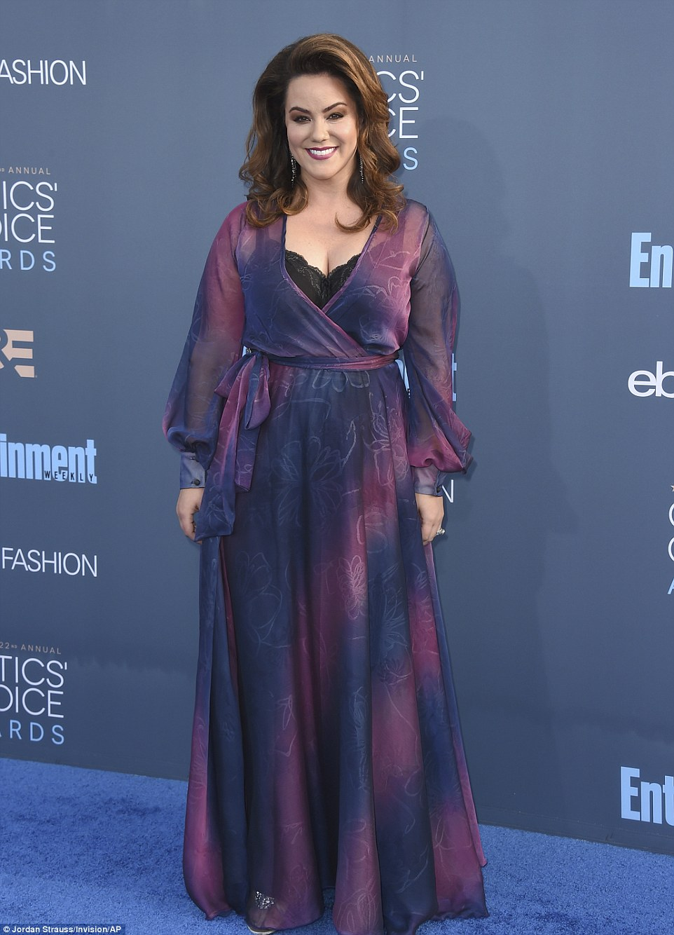 Mum to be: Pregnant Katy Mixon glowed in a floaty wrap dress