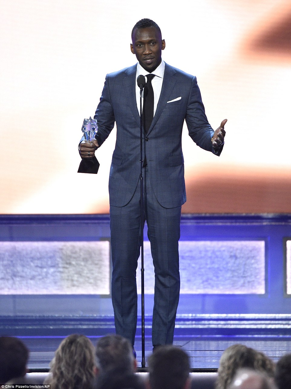 Big moment: Mahershala Ali accepted the award for Best Supporting Actor for Moonlight