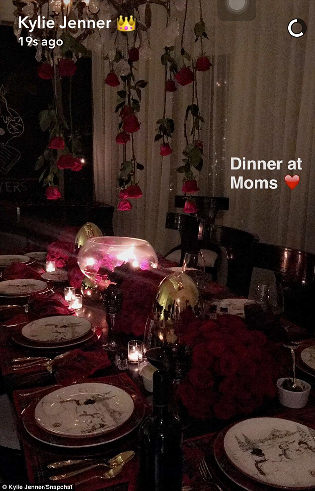 Expecting company: Kylie showed off Kris' dining table set for eight in video she shared to Snapchat