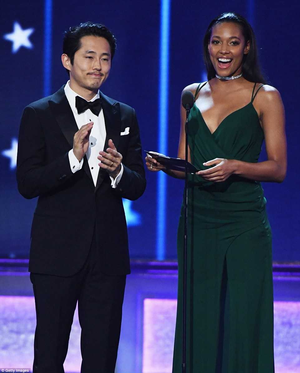 Dynamic duo: The Walking Dead star Steven Yeun was joined by Kylie Bunbury as they presented an award