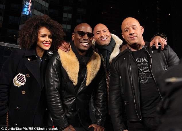 The whole gang! The castNathalie Emmanuel, Tyrese Gibson, Dwayne Johnson, Vin Diesel gathered to present the film's trailer launch in Times Square on Sunday