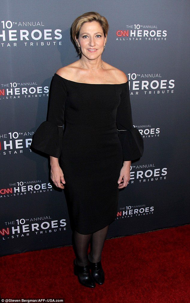 Back in black: Former Sopranos star Edie Falco opted for an off-the-shoulder black dress that had three-quarter sleeves with bell cuffs