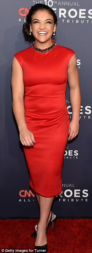 Blacklist actress Megan Boone opted for a pretty negligee-style gown in shiny satin with lace trim, whileOlympic gymnast and DWTS champion Laurie Hernandez was eye-catching in red