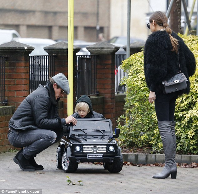 His first car? Clearly taken with Misse's son - her only child from her marriage to footballer Anders Lindegaard - Jake looked to be having a whale of time playing step-father