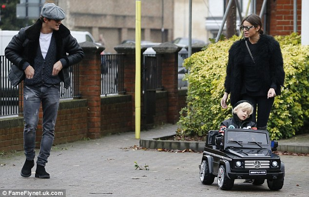 A natural: After a few words of encouragement from former TOWIE star Jake, Julian looked to be off to a flying start as he powered about the driveway