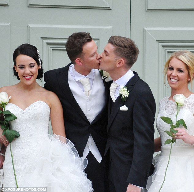 Big day: The happy news comes 18 months after they tied the knot in front of Kieron's co-stars at in the Peak District alongside 12 bridesmaids, including Stephanie Davis (left)