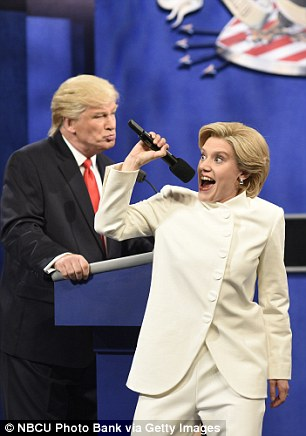 Pictured, McKinnon lampooning Clinton's performance at the third presidential debate