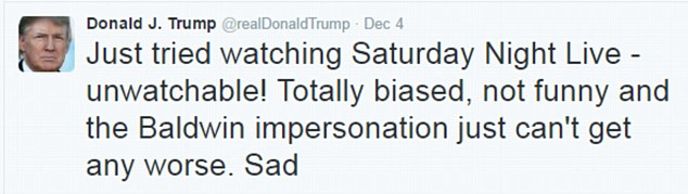 Just last week, Trumptook to Twitter to say he wasn't impressed with the show's portrayal of him
